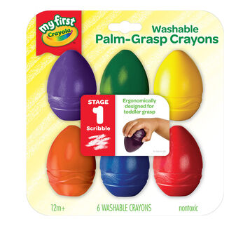My First Washable Palm Grasp Crayons 6 count front of box