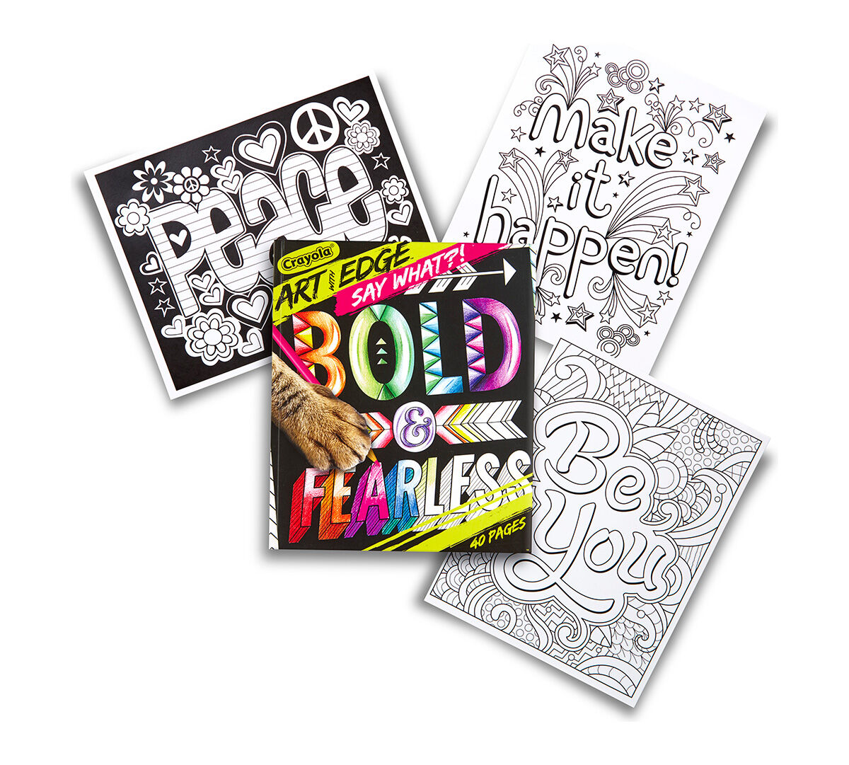<p>Crayola Art With Edge is a line of stunning designs that will keep your creativity on the edge! The SAY WHAT?! collection offers colorful words and inspiring pearls of wisdom, ready for your decorative powers to make them even more impactful! 40 pages of word art on high-quality paper, perfect for framing.</p>