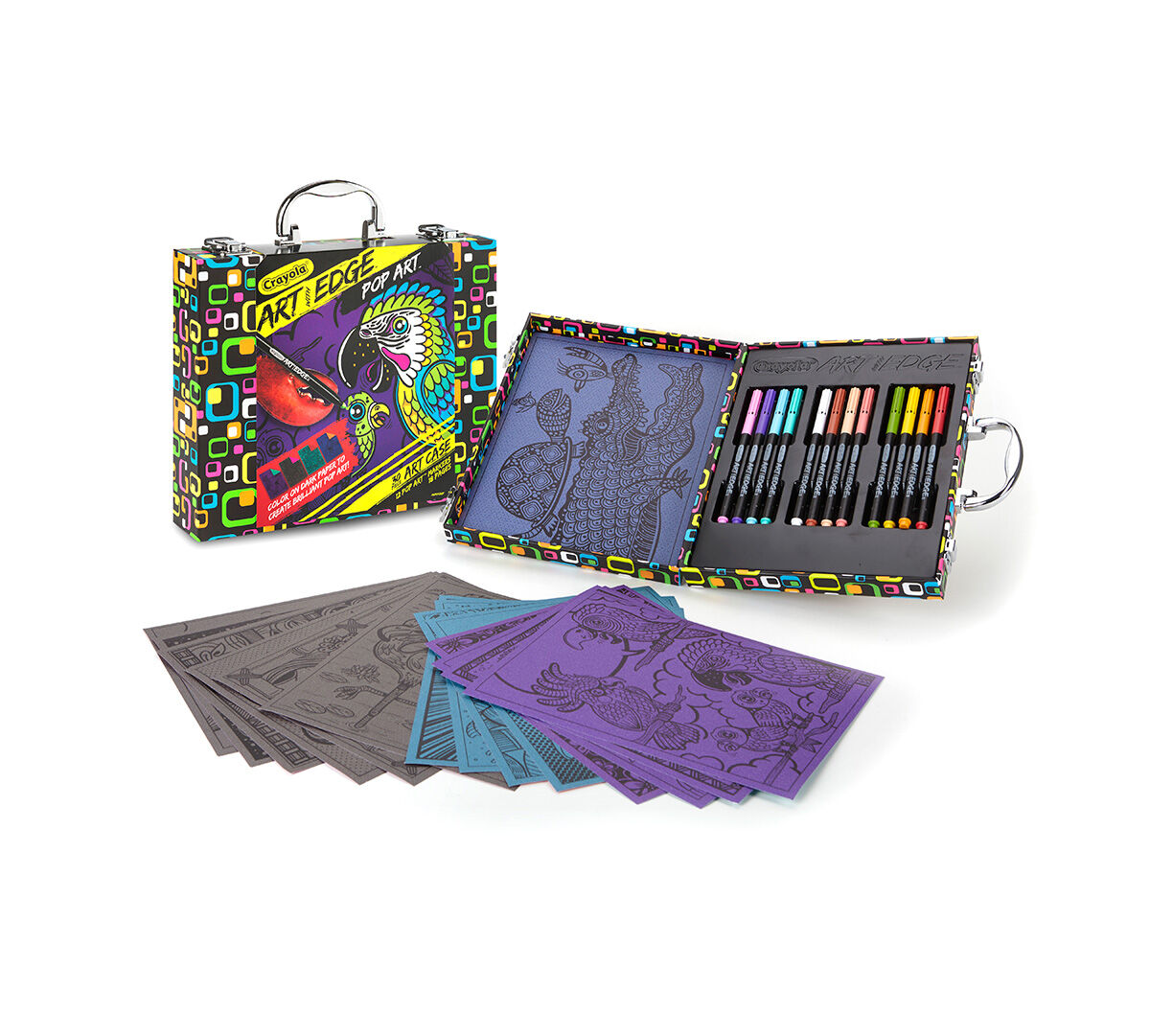 <p>With 18 pages of unique beach-themed line art, 12 Pop Art Markers, and a sturdy storage case with handle, the Crayola Art with Edge Pop Art Case Tropical Pop! contains everything you need to make fun and funky art. Use your imagination and artistic instincts to produce wild, exciting results.</p>