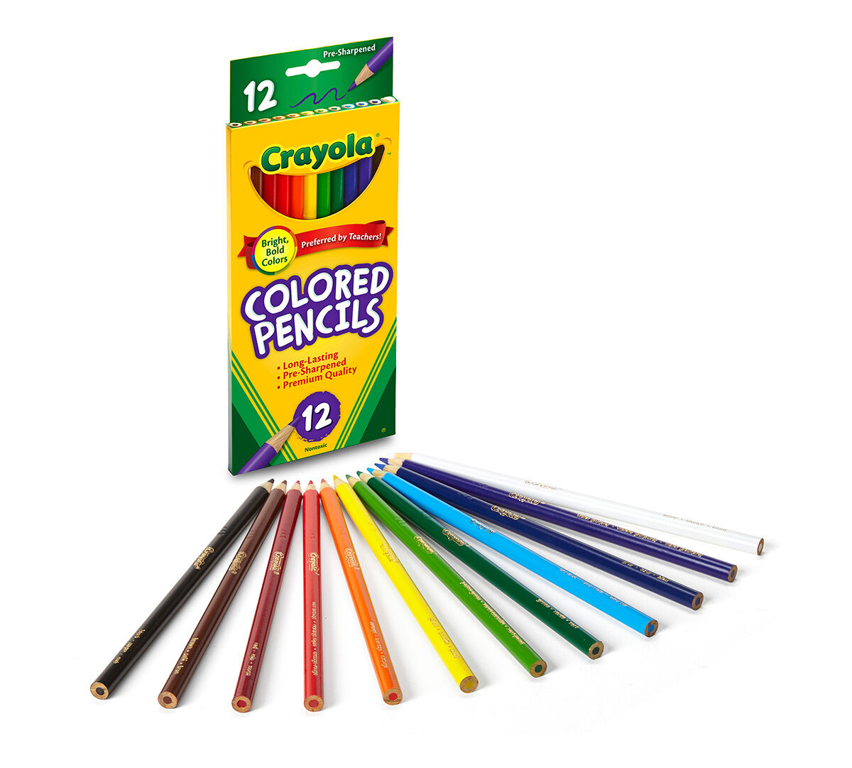 Crayola Colored Pencils Assorted Colors Pre Sharpened Adult Coloring 12 Count