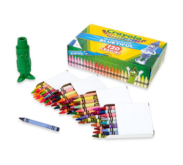120 count Crayons Bluetiful open box with sharpener