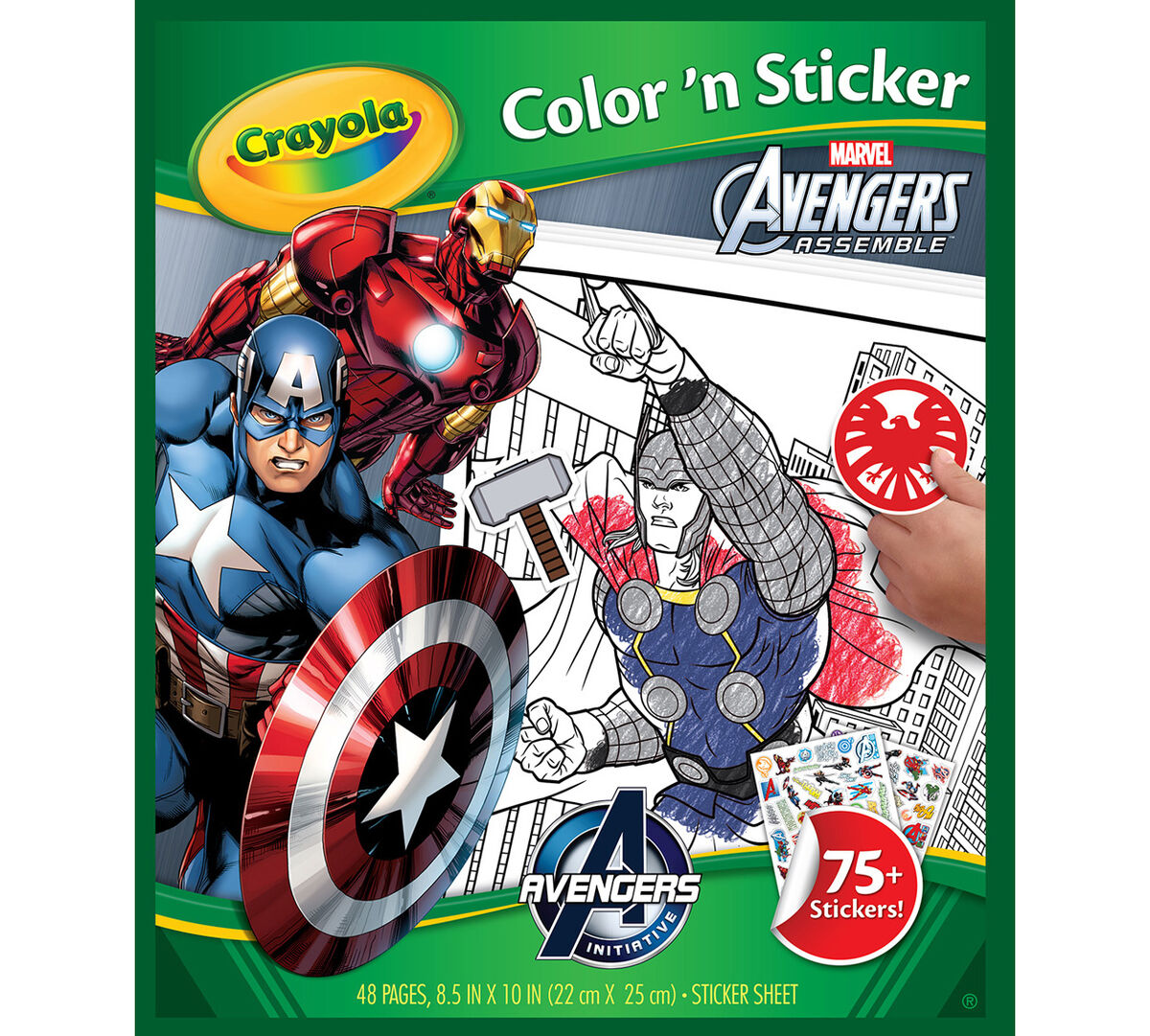 <p> Enjoy the Marvel Avengers Assemble Color 'n Sticker for hours!  Featuring 48 coloring pages and 75+ stickers for decorating fun!</p>