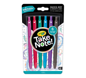 Take Note Washable Gel Pens 6 count Front