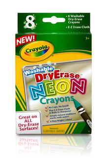 8-Count Washable Dry-Erase Crayons, Neon