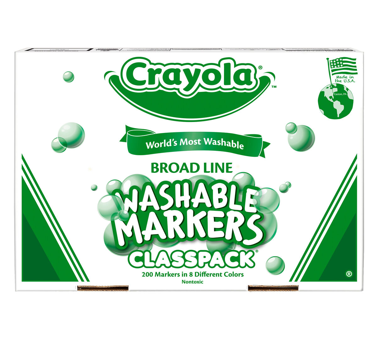 Crayola Classic Broad Line Markers are the classic, long-lasting, durable markers you know from your childhood. They lay down lots of brilliant color, yet don't bleed through most paper.  This bulk Broad Line Marker Classpack includes enough supplies for the entire class!  A total of 200 markers are included. There are 25 markers in each of the following 8 colors: Yellow, Brown, Orange, Red, Violet, Blue, Green and Black.