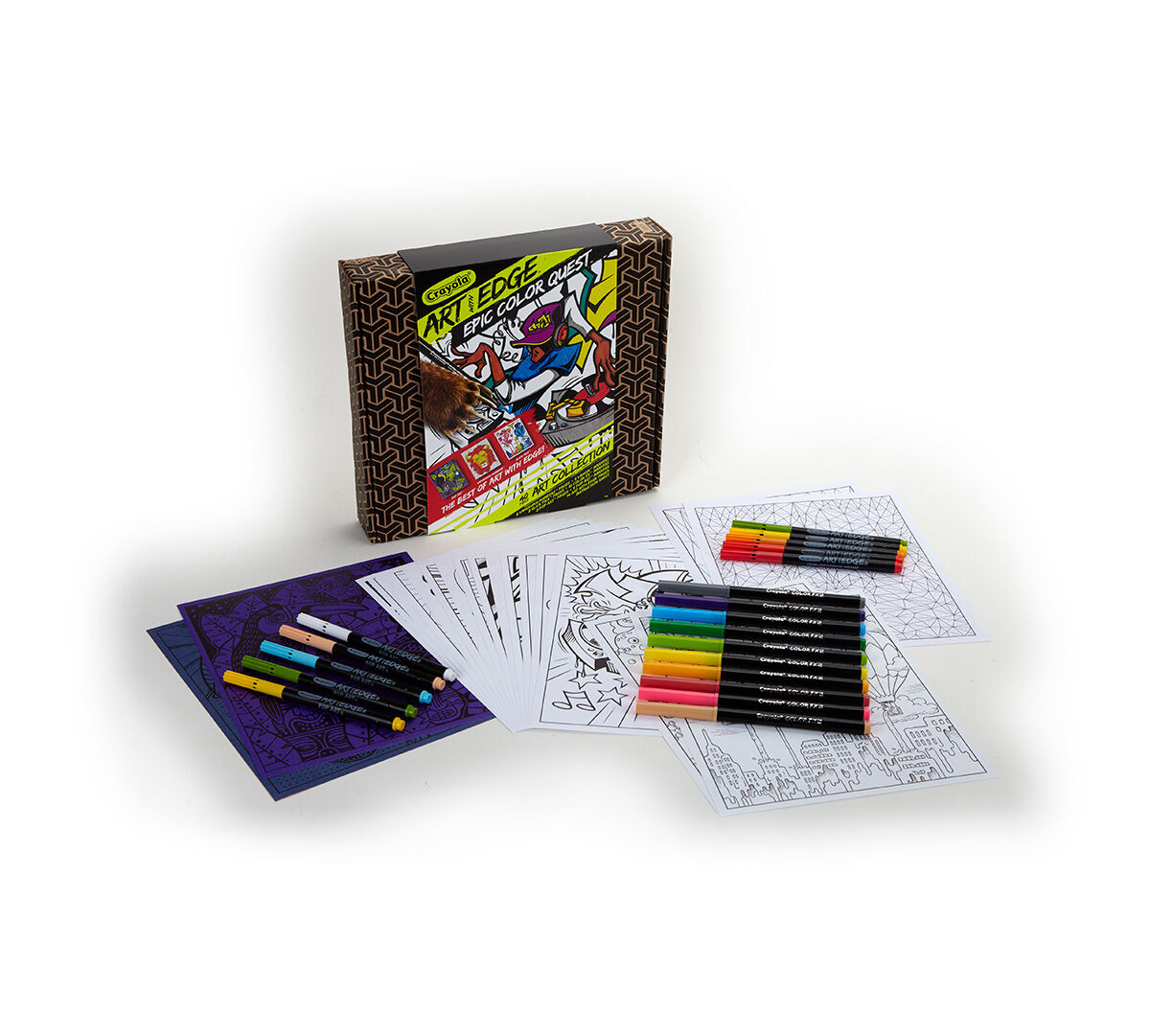 "<style type=""text/css"">.chokeHaz{    margin-top:0px !important;}</style><p>Featuring coloring pages and markers from a variety of Crayola Art with Edge collections, Epic Color Quest lets you sample four different coloring styles from one convenient box. This set also contains traditional Art with Edge line art pages that can be colored with any coloring tools.</p>"