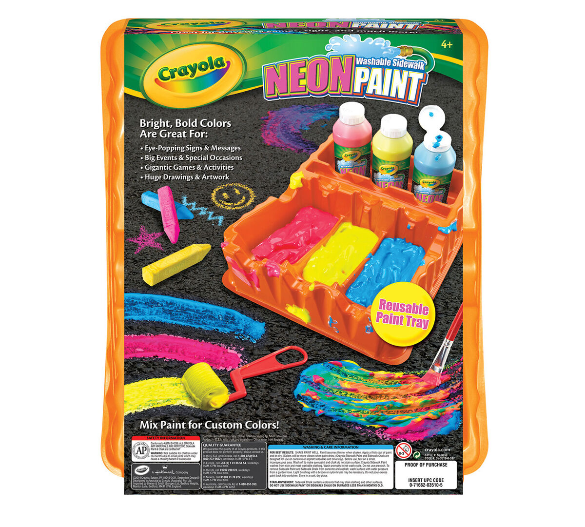 Washable Sidewalk Neon Paint Tray Crayola