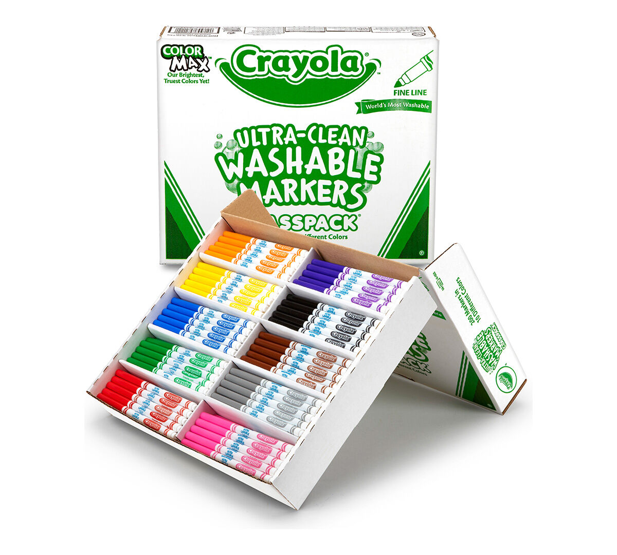 200 Count Ultra Clean Washable Fine Line Markers Classpack, 10 ...