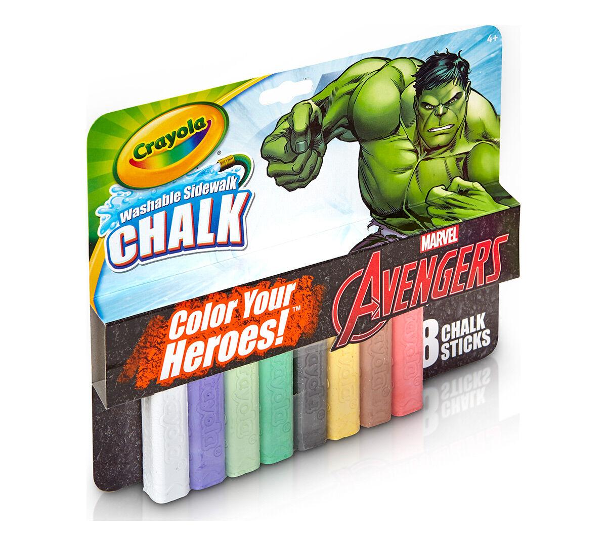 8 ct. Incredible Hulk Washable Sidewalk Chalk - Color Your Heroes ...