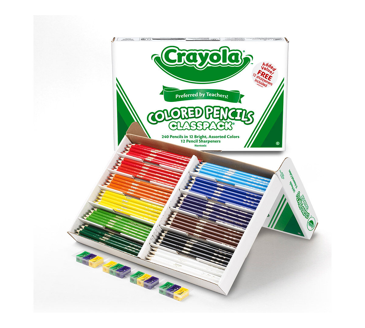 This bulk-size set of colored pencils is an economical way to supply an entire class.  Comes with 12 colors and 12 sharpeners.