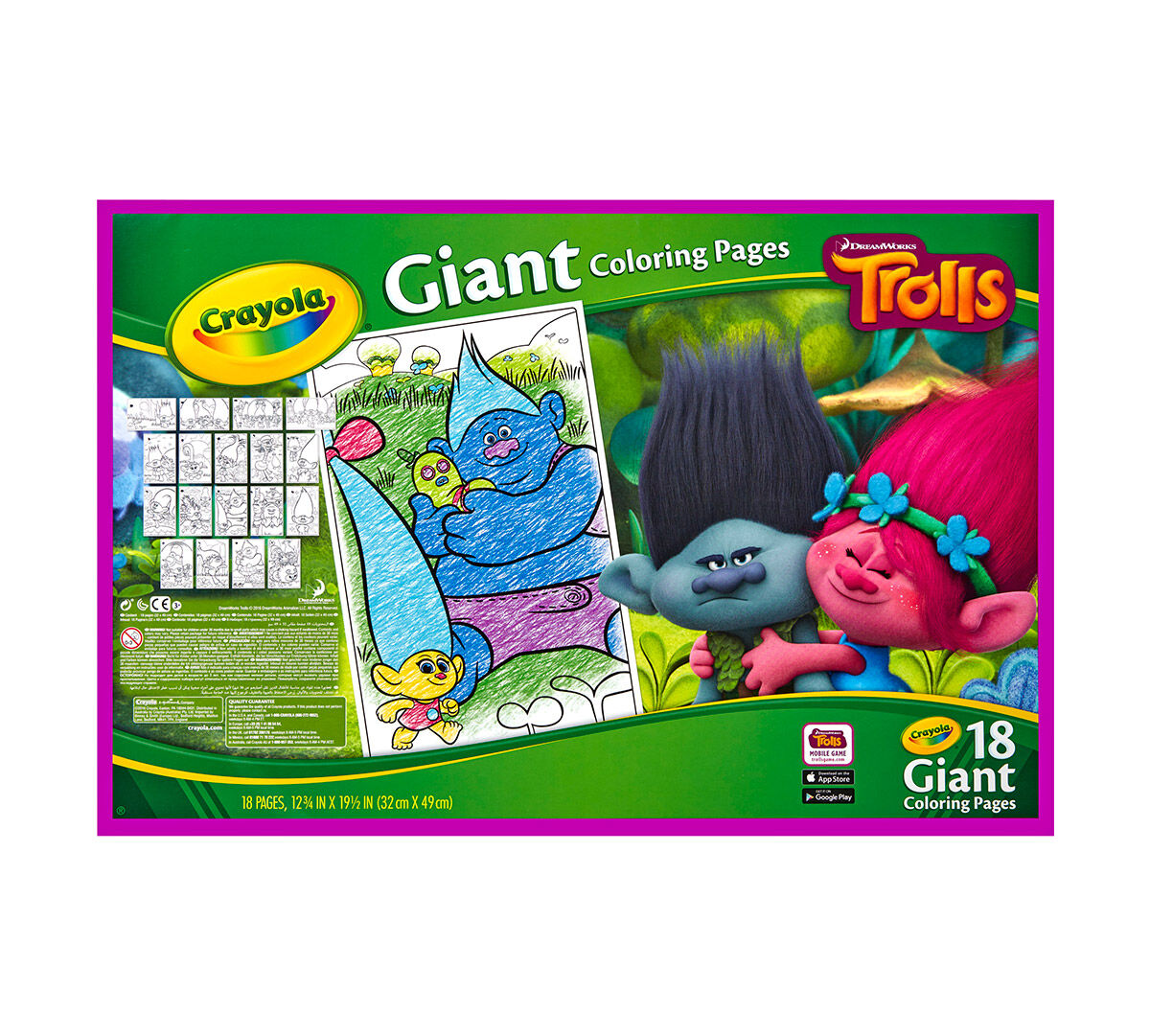 Giant Coloring Pages - Trolls - Crayola