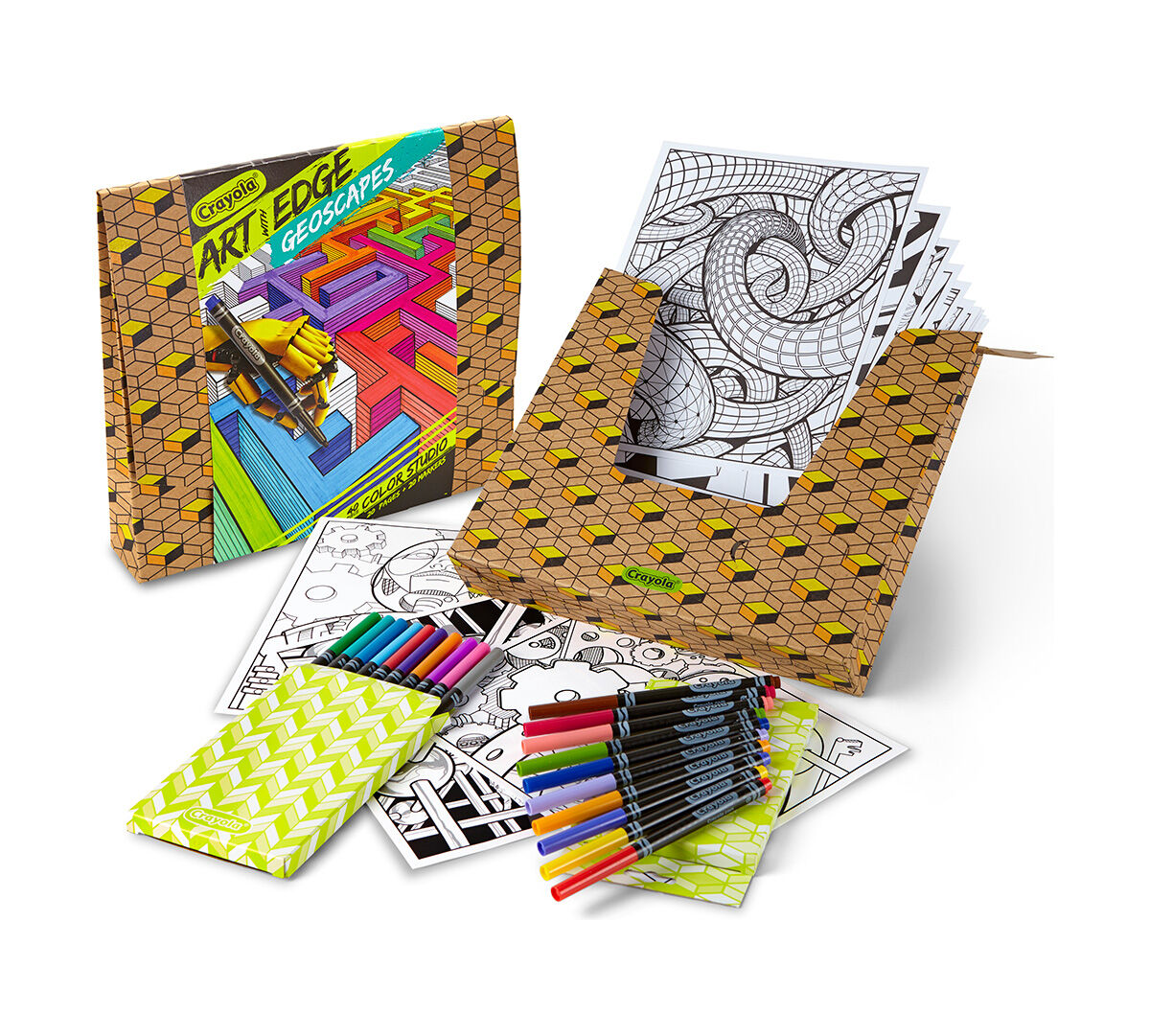 <p>Welcome to the world of creativity! Break out your Crayola Markers and start living on the edge! Just add your imagination to these mind-bending pages, and you'll be prepared for the shape of things to come! Includes 20 Premium Color Pages and 20 Fine Line Markers! Perfect size for framing at 8 inches x 10 inches</p>