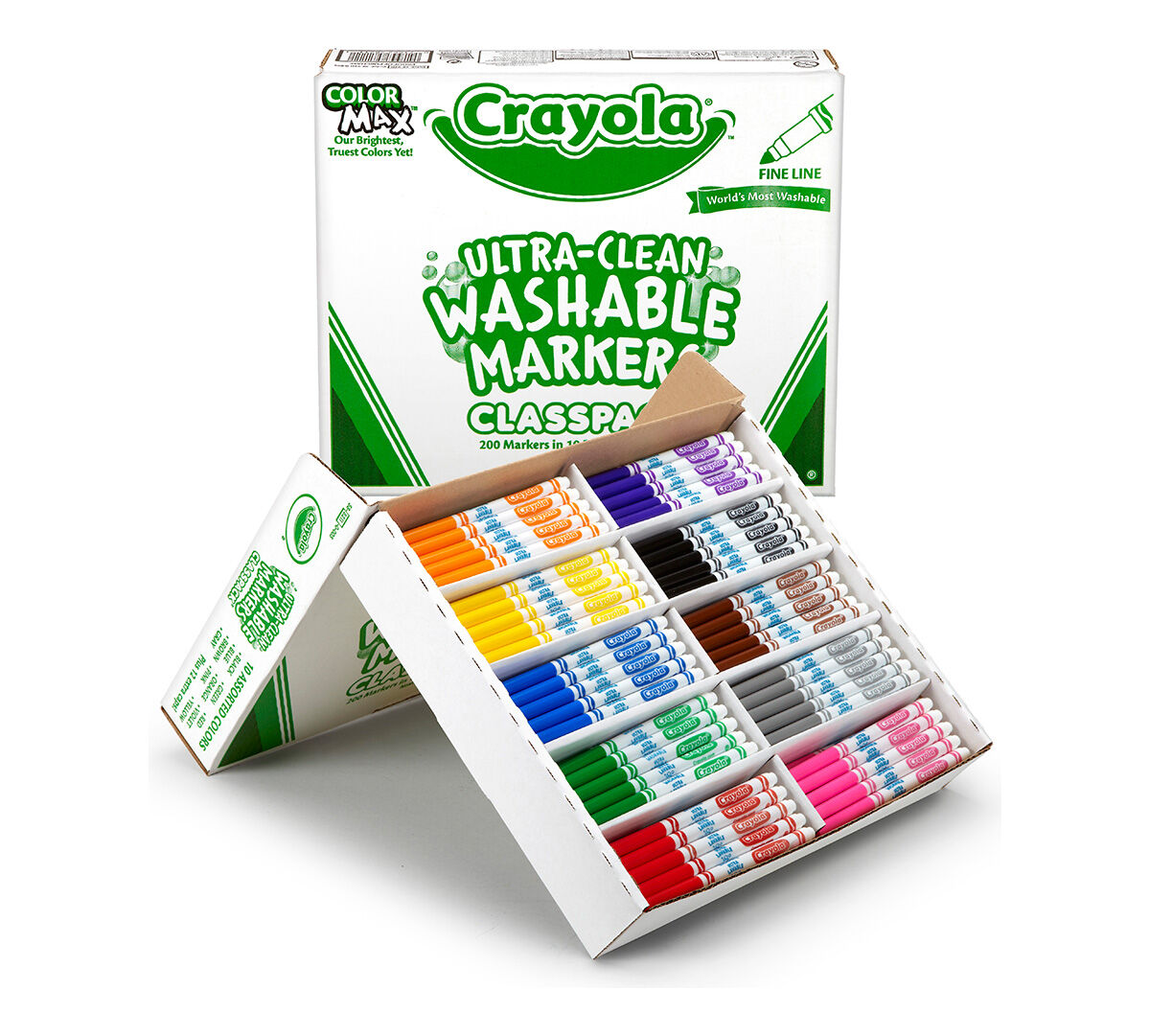 <p>Kids love to get creative with color, but parents and teachers want to keep the color where it belongs and easily remove it where it doesn't! Crayola Ultra-Clean Fine Line Markers now have an improved Ultra-Clean washable formula and come with two new bold colors. These durable fine-line markers are ideal for writing, drawing, or coloring in small areas.</br> </br>This bulk Ultra-Clean Fine Line Marker Classpack includes enough supplies for the entire class!  A total of 200 markers are included. There are 20 markers in each of the following 10 colors: Brown, Yellow, Orange, Red, Violet, Blue, Green, Black, Pink, and Gray.</p>