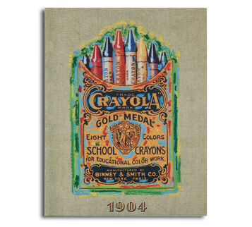 Crayola Vintage Crayon Box 25B Canvas Board 11x14