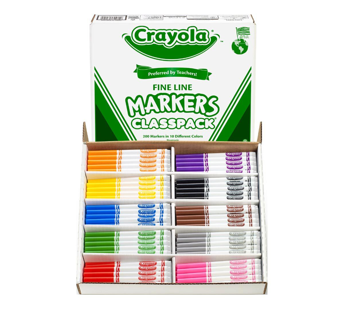<p>Crayola Classic Fine Line Markers are the classic, long-lasting, durable markers you know from your childhood. They lay down lots of brilliant color, yet don't bleed through most paper.  Put students' imaginations to work with these classic, long-lasting, durable markers which lay down lots of brilliant color, this bulk Fine Line Marker Classpack includes enough supplies for the entire class!  A total of 200 markers are included. There are 20 markers in each of the following 10 colors: Brown, Yellow, Orange, Red, Violet, Blue, Green, Black, Flamingo Pink, and Dolphin Gray.</p>