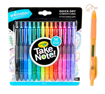 Take Note Washable Gel Pens 14 count front view