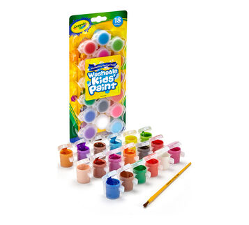 washable paint pots with brush 18 ct
