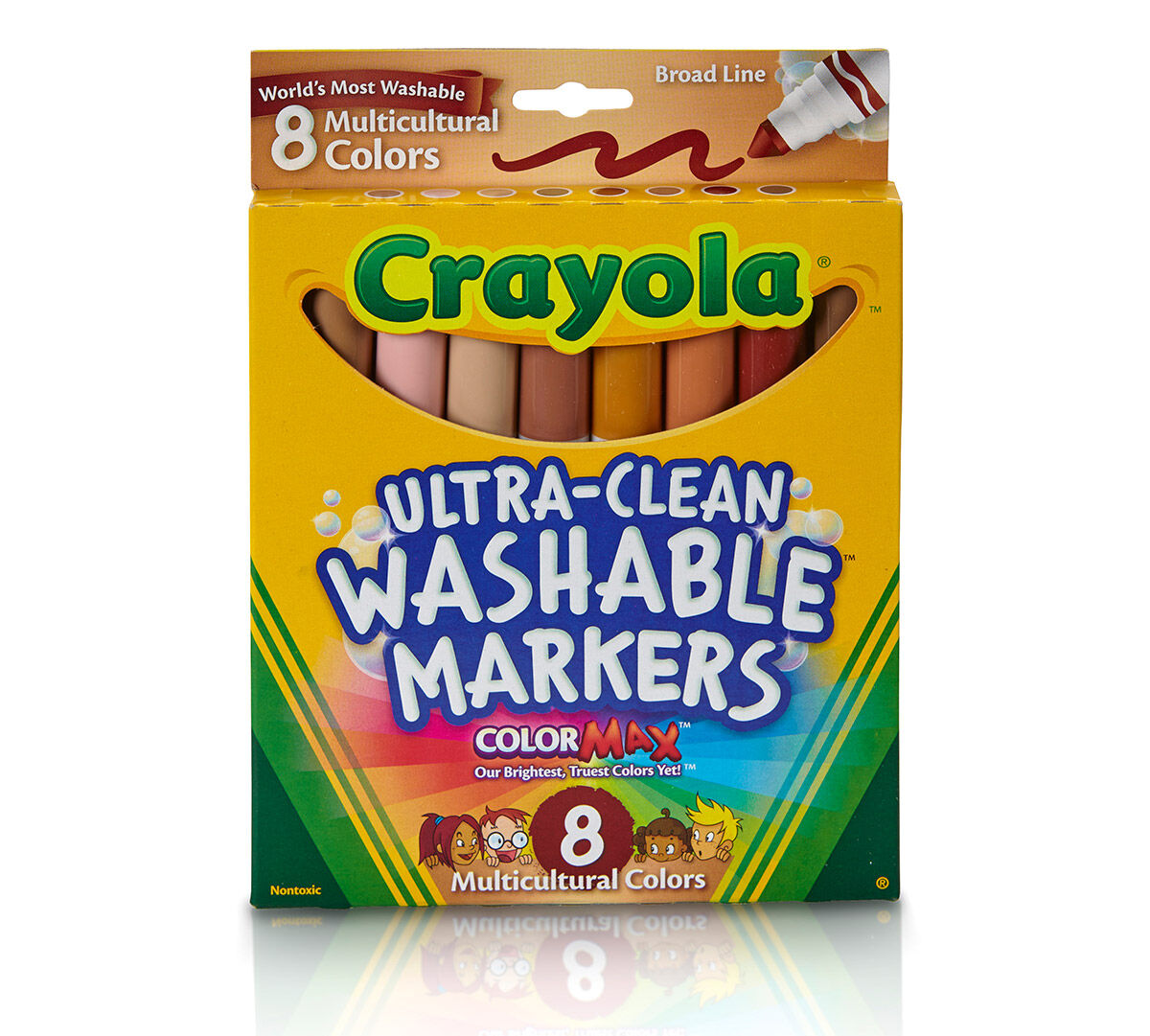 UltraClean Markers Broad Line Multicultural 8 ct Crayola