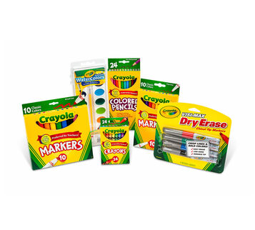Deluxe Back to School Supplies Kit with Markers and Watercolors (Grades 4-6)