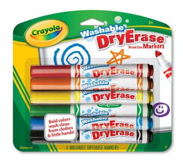 Washable Dry-Erase Broad Line Markers, 6 Count