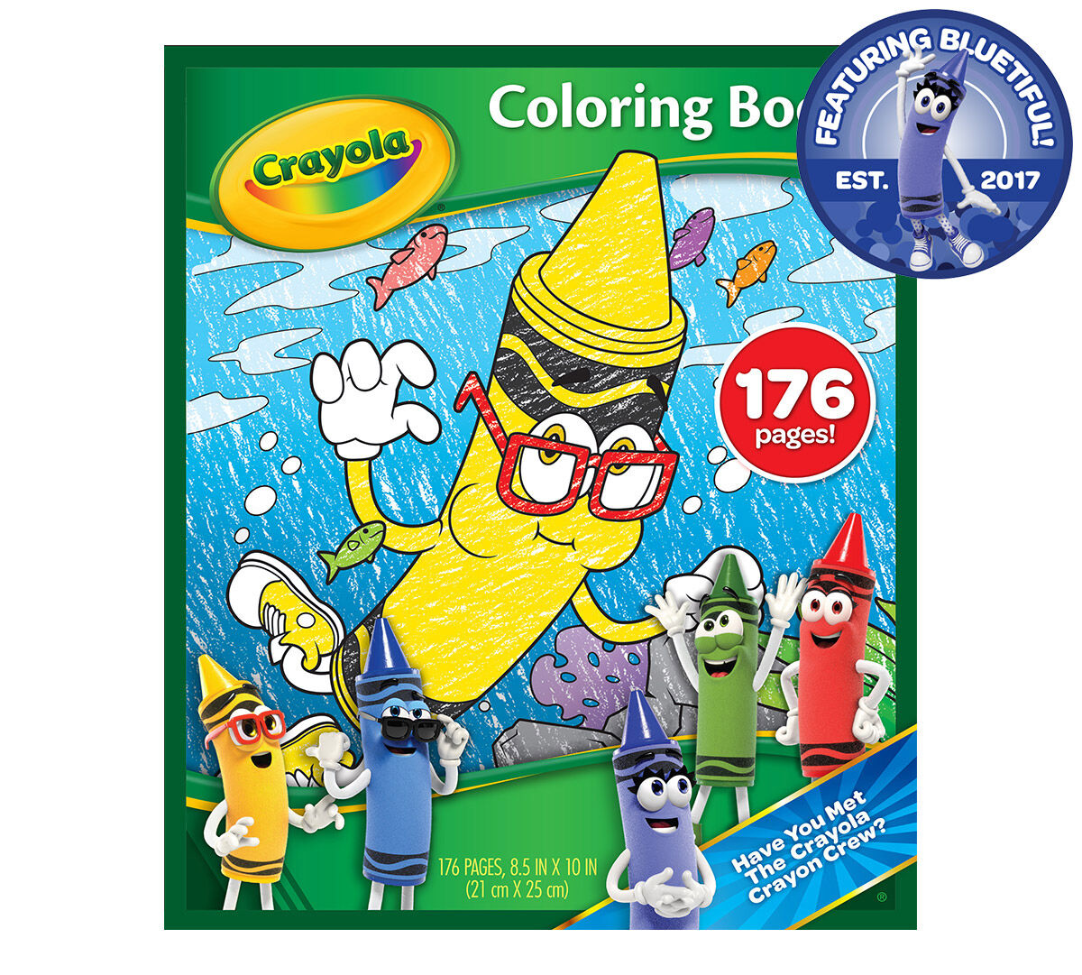176 pages of fun coloring activities take kids on a journey with our newest Crayola Crayon, Bluetiful. Let your little ones get to know new blue and her friends with each new crayon-themed coloring page. What better way to celebrate our new color than with a coloring book all about her.