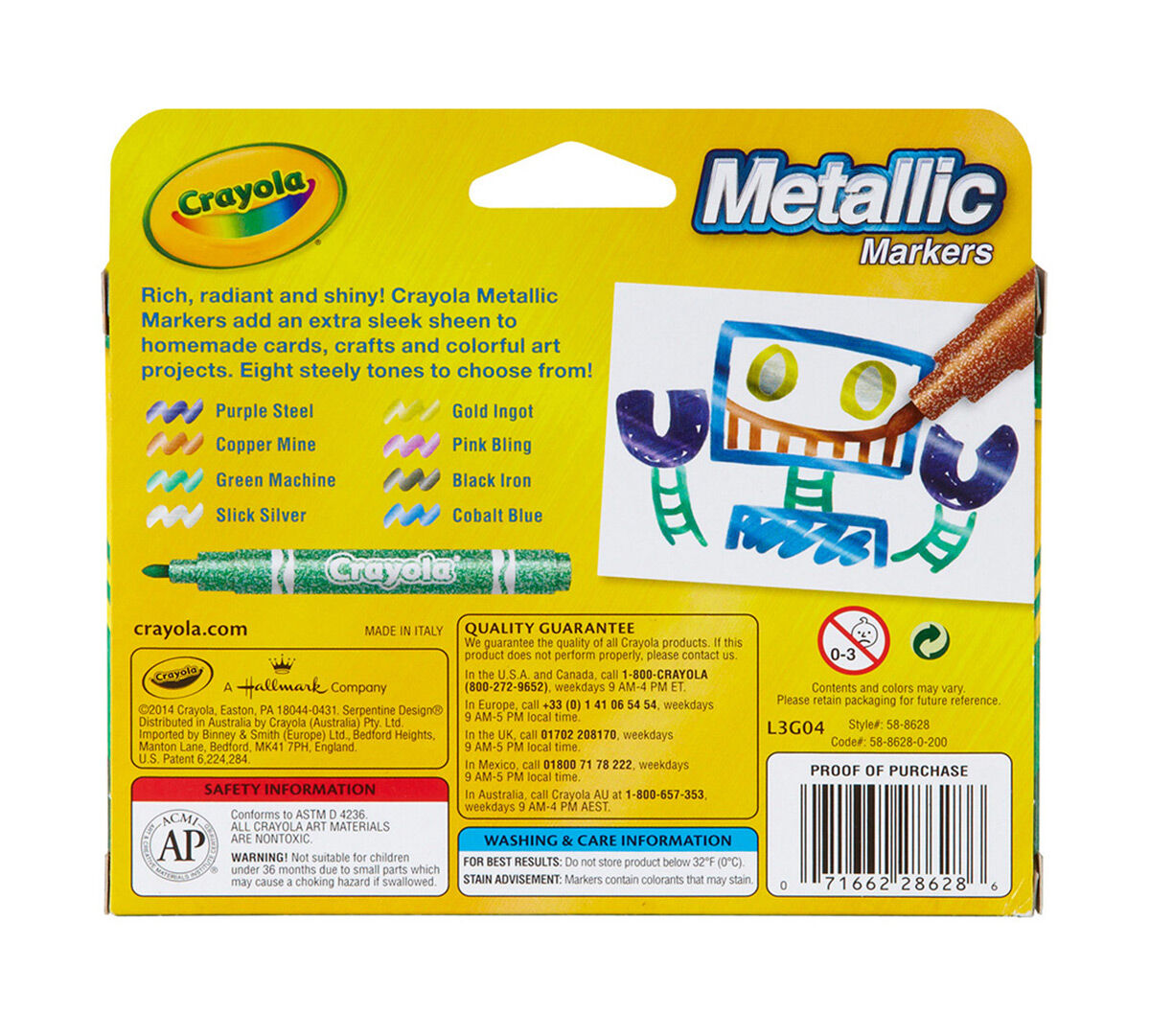 8 Count Metallic Markers Crayola