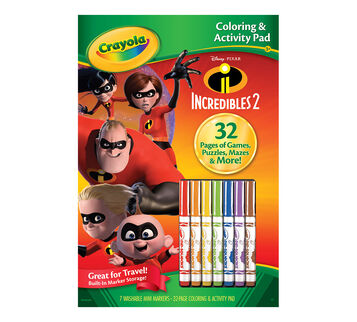 Coloring Activity Pad With Markers Incredibles 2