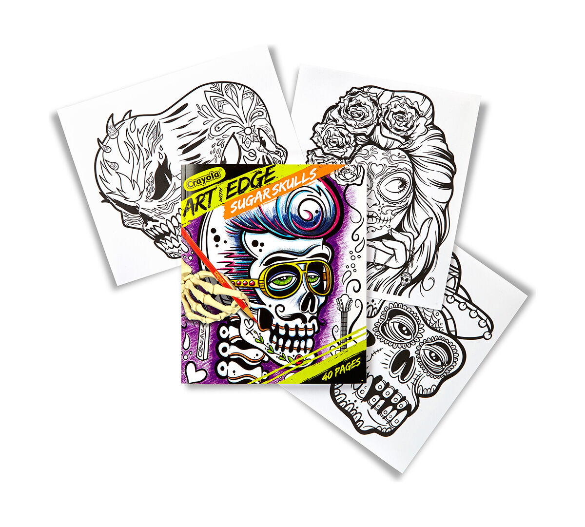 "<p>Crayola Art With Edge is a line of stunning designs that will keep your creativity on the edge! With Sugar Skulls you can get a head start on coloring this collection of the cute and the macabre. 40 high-quality coloring pages, measuring 8""x10"", perfect for framing!</p>"