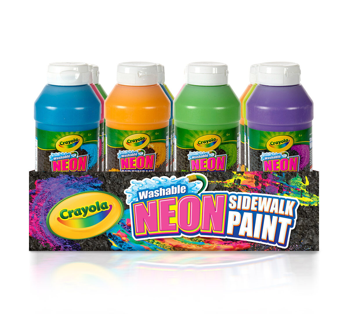 "<p>Create BIG, BRIGHT outdoor art with 12 ct. Washable Sidewalk Neon Paint! This 12-piece kit includes 2 Neon Blue Washable Sidewalk Paints, 2 Neon Pink Washable Sidewalk Paints, 2 Neon Yellow Washable Sidewalk Paints, 2 Neon Orange Washable Sidewalk Paints, 2 Neon Green Washable Sidewalk Paints, and 2 Neon Purple Washable Sidewalk Paints. The perfect kit to fill up all of your <a href=""http://shop.crayola.com/toys-and-activities/outdoor-play/sidewalk-paint-sprayer-5535330000.html"">Sidewalk Paint Sprayer</a> or just for the ultimate outdoor Sidewalk paint party!</p>"