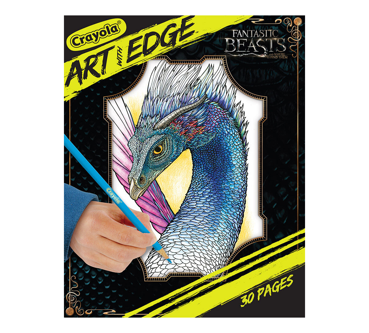 <p>Crayola Art With Edge is a line of wild, wacky, or whimsical coloring page designs just begging for your creative skills to bring them to life! This pack contains magical coloring experiences from Fantastic Beasts, a story from the wizarding world of Harry Potter! Pick up Art With Edge today and start living on the edge! Includes 30 enchanting pages.</p>