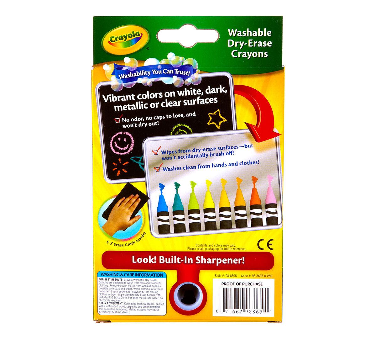 8 count washable dry erase crayons neon