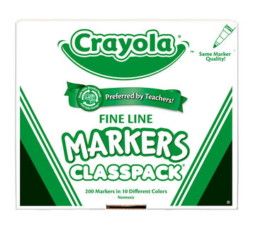 200 Count Crayola Fine Line Markers Classpack, 10 Colors
