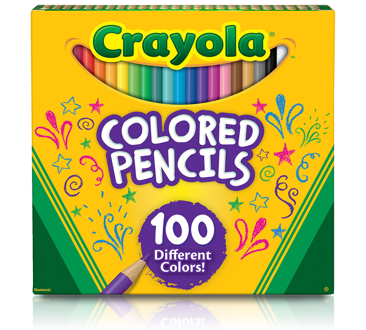 Crayola Colored Pencils, 100 Count, Vibrant Colors, Pre-sharpened ...