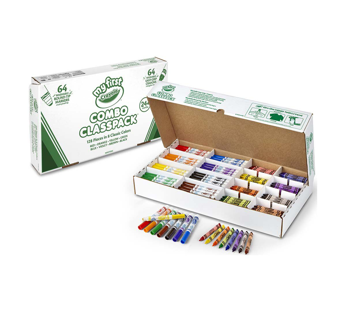 <p>Packed with a total of 128 pieces in eight classic colors, the My First Crayola Crayons and Markers Combo Classpack encourages kids to get creative. This pack of 64 washable conical-tip markers and 64 easy-grip no-roll crayons is ideal for busy classrooms. A convenient cardboard box with corrugated cardboard dividers allow you to arrange the markers and crayons by color so everything stays organized and in one place.</p>
