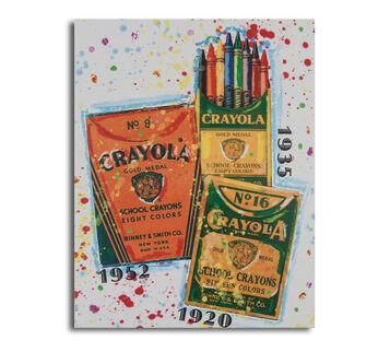 Crayola Vintage Timeline 27 Canvas Board 11x14