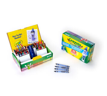 Crayons New Bluetiful 124 count Open box with contents
