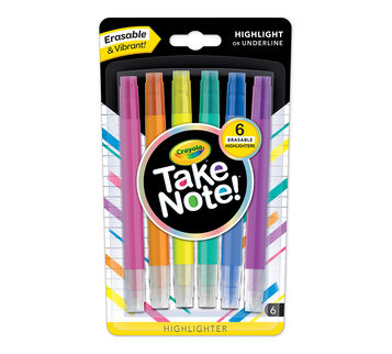 Take Note Erasable Highlighters Front 6 count