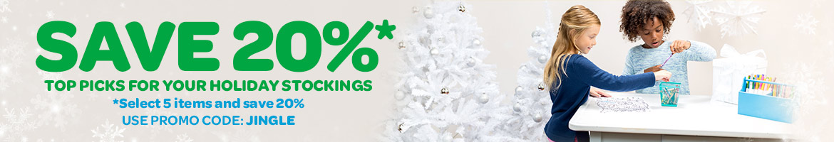 Save 20%. Top picks for your holiday stockings. select 5 items and save 20%. use promo code: JINGLE