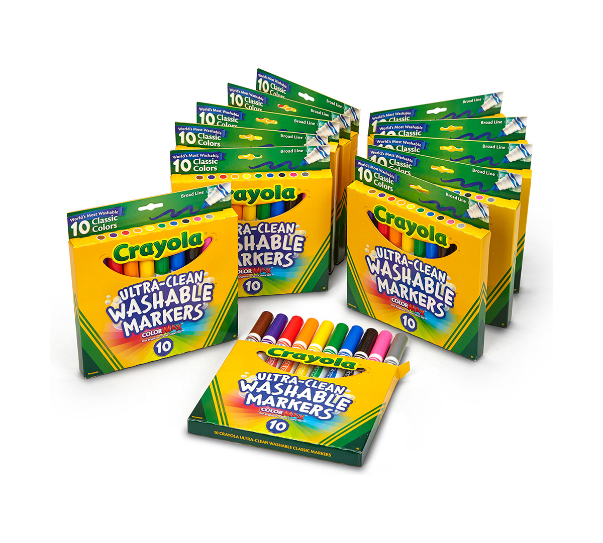 Crayola Ultra-Clean Washable Markers, Broad Line, 12 Pack of 10 Count