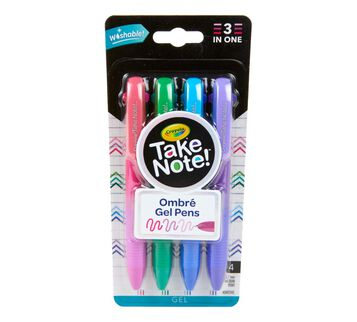 Take Note Washable Gel Pens, Ombre, 4 Count