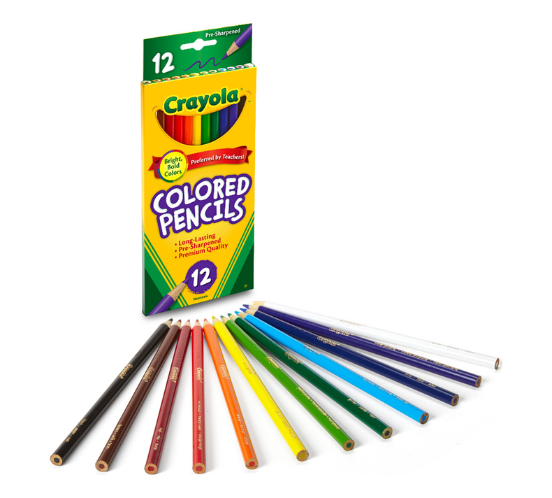 Colored Pencils, Long,  12 Count