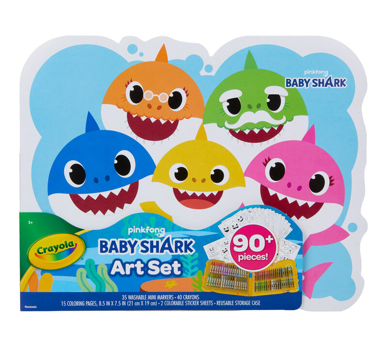 KIDS BABY SHARK SCRATCH ART SET Home Party Art /& Craft Activity Gift Set UK