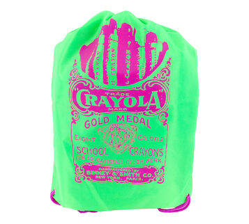 Neon Green Drawstring back pack with pink lettering