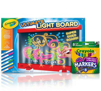 Red Ultimate Light Board and Washable Gel Markers Gift Set