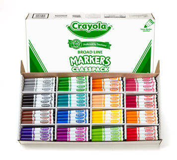 Crayola Broad Line Markers Classpack, 256 Count, 16 Colors