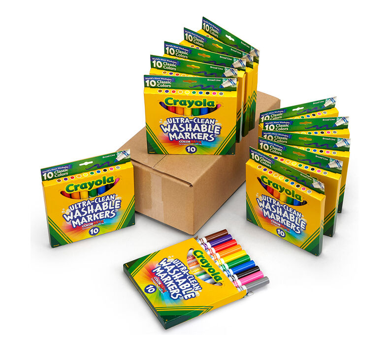 12 Box Classpack of 10 Count Ultra-Clean Washable Markers, Broad Line