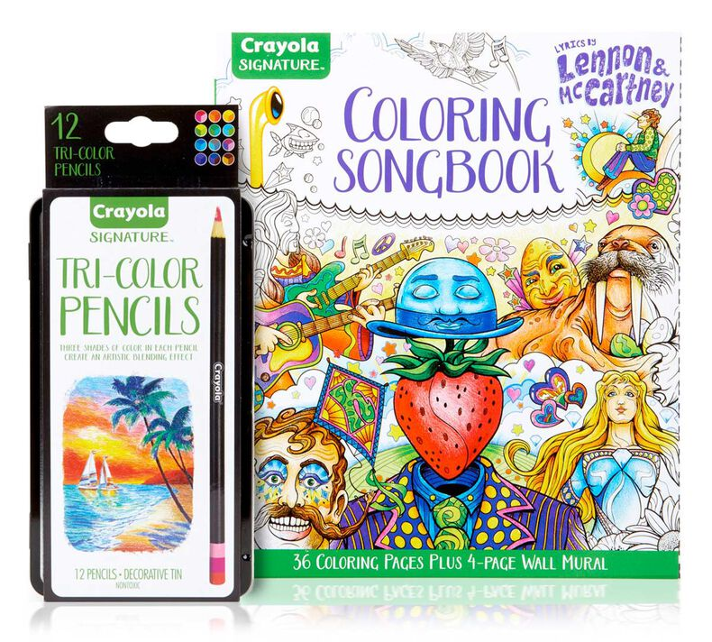 Lennon & McCartney Adult Coloring Kit, Tri-Shade Colored Pencils Gift Set