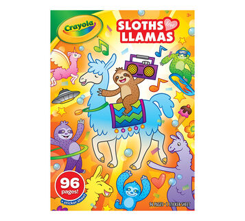 Sloths Love Llamas Coloring Book Front View