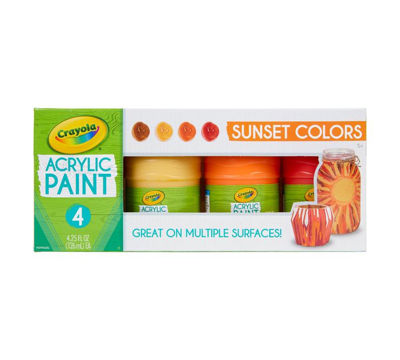 Multi-Surface Acrylic Paint, Sunset Colors, 4 Count