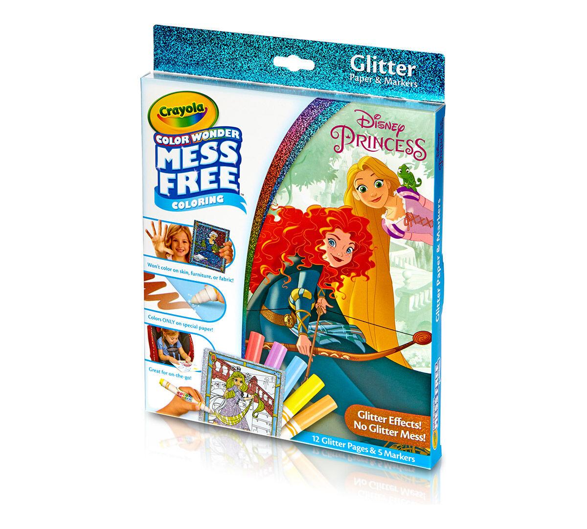 color wonder glitter paper and markers box set disney princess crayola